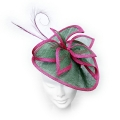 Designer bright magenta pink and green wedding fascinator; perfect for wedding guests, Mother of the Bride or the races.