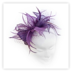 Beautiful magenta pink and plum feather fascinator perfect for wedding guests, Mother of the Bride or bridesmaid.