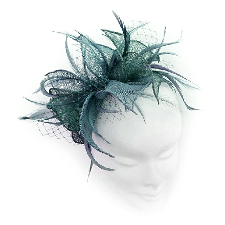 Small teal and jade headpiece ideal for wedding guest, Mother of the Bride or bridesmaid; with feathers, crystals or pearls and veiling.