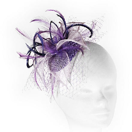 Lilac and purple feather fascinator with veil netting; perfect for wedding guests, Mother of the Bride or bridesmaids.