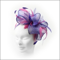 Lavender Lilac feather fascinator with gathered loops perfect for wedding guests, Mother of the Bride or bridesmaid.