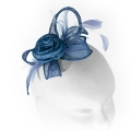 Small teal blue rose fascinator with feathers; perfect for wedding guests, flower girls or bridesmaids.
