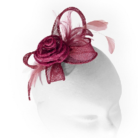 Small deep red rose headpiece ideal for wedding guest, race-goer or bridesmaid; with soft feathers.