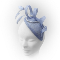 Stylish powder blue teardrop fascinator with pearls; perfect for wedding guests, Mother of the Bride or bridesmaids.