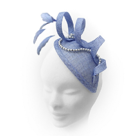 Small powder blue teardrop headpiece ideal for wedding guest, Mother of the Bride or bridesmaid; with feathers, crystals or pearls.