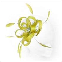 Bright yellow feather loop fascinator with diamantes; perfect for wedding guests, Mother of the Bride or bridesmaids.