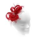 Dainty poppy red feather fascinator with diamantes; perfect for wedding guests, Mother of the Bride or bridesmaids.