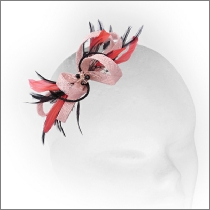 Tiny dainty coral pink feather fascinator with crystals; perfect for wedding guests, flower girls or bridesmaids.