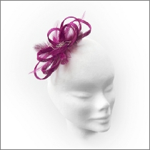 Dainty bright magenta pink loop fascinator with diamantes; perfect for wedding guests, flower girls or bridesmaids.