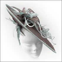 Brown and sage green floral saucer wedding fascinator; perfect for wedding guests, Mother of the Bride or the races.