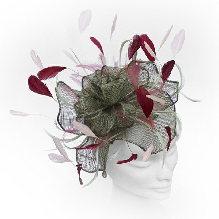 Fancy flower khaki and pink wedding fascinator ideal for wedding guests, Mother of the Bride or bridesmaids.