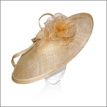 Elegant extra large wide brim gold wedding fascinator; perfect for wedding guests, Mother of the Bride or the races.