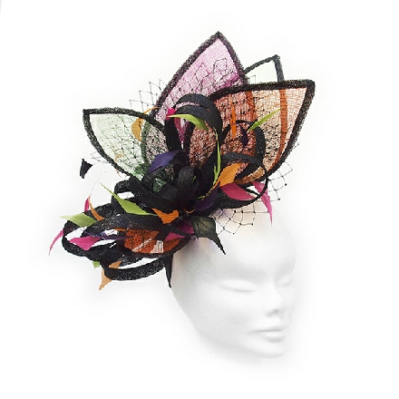 Bright pink, orange and lime green designer headpiece for a day at the races, wedding guests or Mother of the Bride.