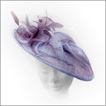 Mauve pink and lilac lavender brimmed wedding fascinator; perfect for wedding guests, Mother of the Bride or the races.