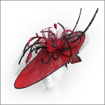 Dramatic poppy red and black feather wide brim fascinator; perfect for wedding guests, Mother of the Bride or the races.
