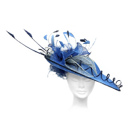 Stunning brimmed cobalt blue fascinator with exotic feathers and beautiful flower detail. Perfect for Mother of the Bride.