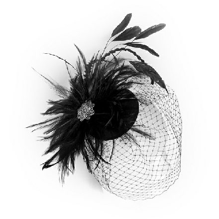 A stylish black feather mourning fascinator with birdcage veil on a felt button base, would also suit other occassions.