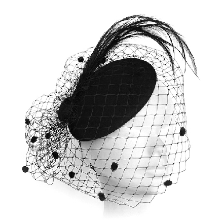 A black felt fascinator with feathers and a chenille spot veil suitable for funerals or other events.