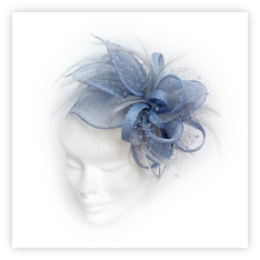 Light powder blue feather and crystal fascinator ideal for wedding guest, Mother of the Bride or bridesmaid.