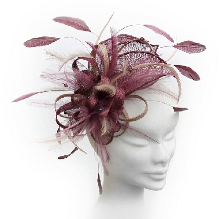 Burgundy wine wedding fascinator ideal for wedding guest, Mother of the Bride or bridesmaid; also perfect for race-goers.